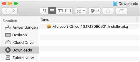 """Das Symbol """"Downloads"""" im Dock zeigt das Office 365-Installationspaket."""