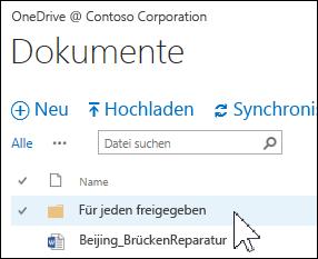 Ordner 'Für jeden freigegeben' in OneDrive for Business