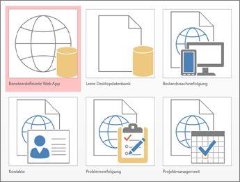 Vorlagenansicht im Startbildschirm von Access