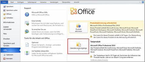 Entfernen einer Testversion von Office2010