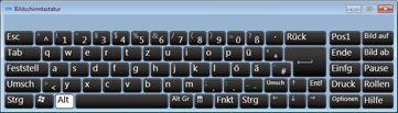 Bildschirmtastatur mit russischen kyrillischen Zeichen