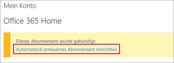 """Screenshot des Links """"Automatische Abonnementverlängerung einrichten"""""""