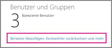 """Wählen Sie den Link """"Benutzer hinzufügen, Kennwörter zurücksetzen und mehr"""" aus."""