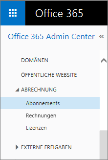 "Link zur Seite ""Abonnements"" in Office 365 Small Business Premium"