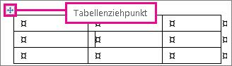 Tabelle mit Tabellenziehpunkt