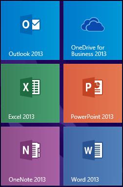 OneDrive for Business 2013 program tile in Windows 8