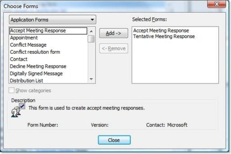 Choose Forms dialog box in Outlook 2007