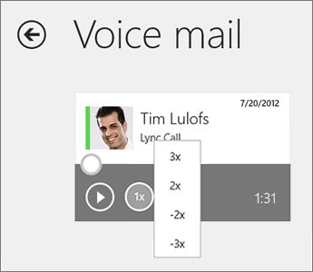 Speed menu on voice mail tile