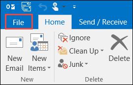 Outlook 2016 File tab