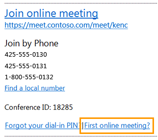 Join online meeting email message