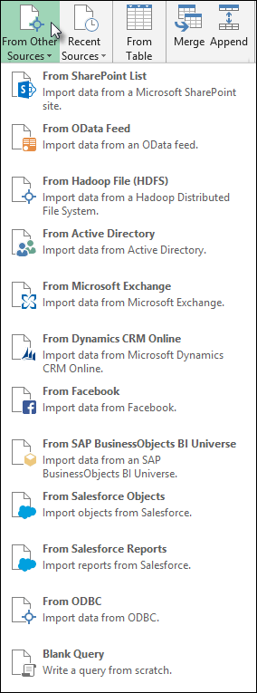 Power Query Data Sources