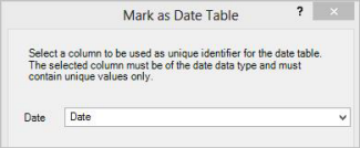 Mark As Date Table dialog