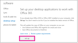 Set up your desktop applications to work with Office 365