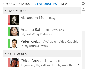 Sort contacts by relationship