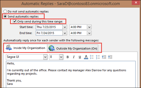 Out of Office message in Outlook