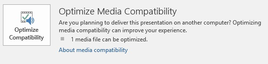 optimize compatibility button in PowerPoint