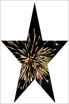 Star shape with a picture of fireworks inside it
