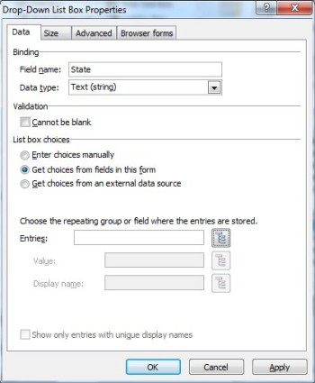 Enable selection through choice controls