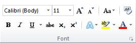 The Font group on the Home tab in the Word 2010 ribbon.