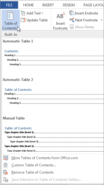 Table of Contents menu