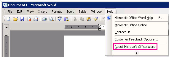 Help > About Microsoft Office Word in Word 2003