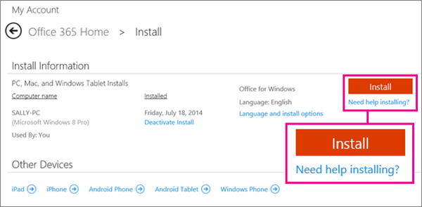 """Screen shot of the Install page with the """"Install"""" button and the """"Need help installing?"""" link selected."""