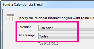 In the Calendar and Date Range boxes, pick the options you want