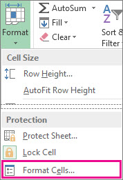 On the Home tab, Format button, and the Format cells button on the menu