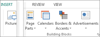 Screenshot of the Building Blocks group on the Insert tab in Publsiher.
