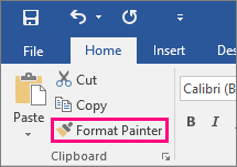 Shows the Format Painter button in the Home tab in Word