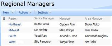 Regional Managers custom list