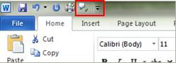 Quick Access Toolbar Speak command