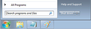 Windows 7 Start menu with Search box
