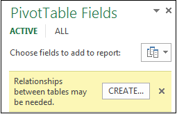 Create button appears when relationship is needed