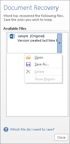 Document Recovery task pane in Word 2013