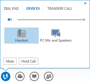 Screenshot of audio call controls