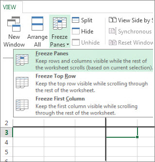 how to turn on freeze frame in excel 2016