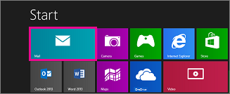 Windows 8 Start page showing Mail tile
