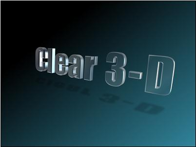 Clear, floating 3-D text