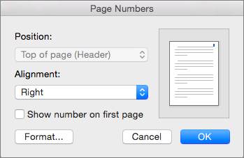 how to add page numbers in mac word