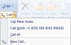 Respond to an email by using Lync 2010 to make a call in Outlook 2007