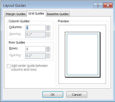 Publisher Layout Guides showing Grid Guides