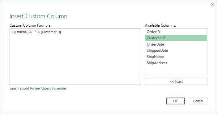 Specify custom column formula to merge column values