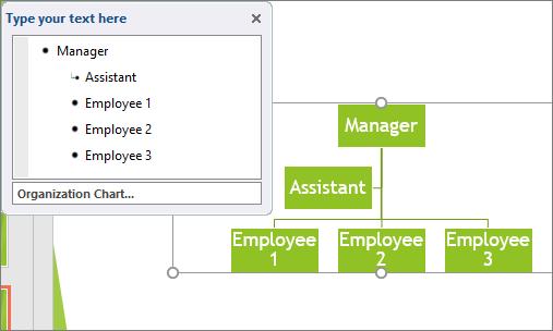 Shows an example of a SmartArt Organizational Chart