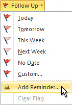 Add a reminder command on the ribbon