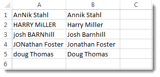 Formula copied down column B, all names now in proper case