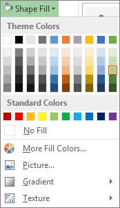 Shape Fill color options menu