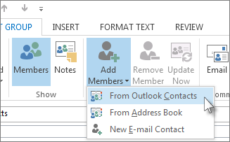Add New Members from Outlook Contacts