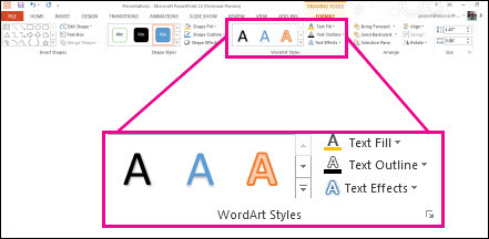 WordArt Styles commands on the ribbon