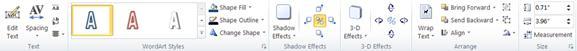 WordArt tools tab in Publisher 2010